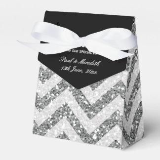 Silver Glitter Chevron Tent with Ribbon Favour Box