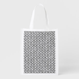 Silver Glitter Chevrons Knit Style Print Reusable Grocery Bag