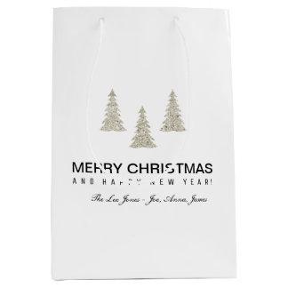 Silver Glitter Christmas Medium Gift Bag