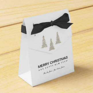 Silver Glitter Christmas Party Favour Boxes
