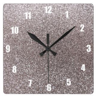 Silver glitter clock