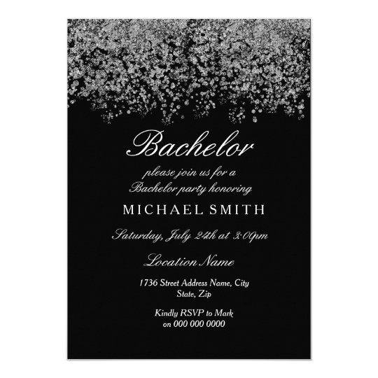 Silver Glitter Confetti Black Bachelor Party Card