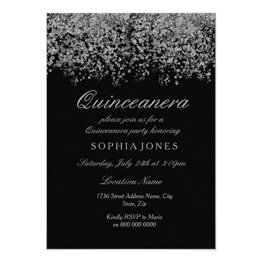 Silver Glitter Confetti Black Quinceanera Invite