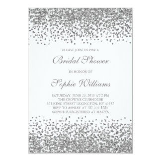 Silver Glitter Confetti Bridal Shower Card