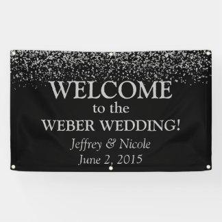 Silver Glitter Confetti Custom Wedding Banner