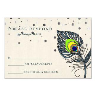 Silver Glitter Confetti Peacock Feather Blue RSVP 9 Cm X 13 Cm Invitation Card