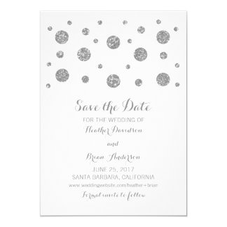 Silver Glitter Confetti Save the Date Invite