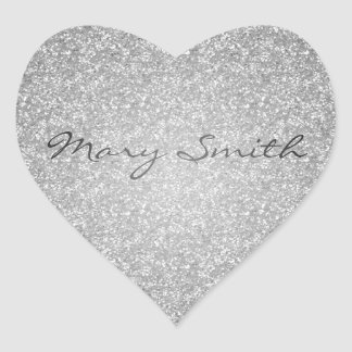 Silver Glitter Custom Name Heart Sticker