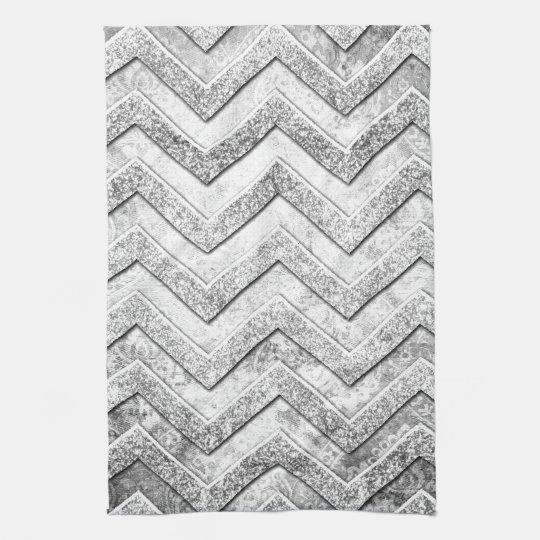 Silver glitter damask chevron pattern. tea towel