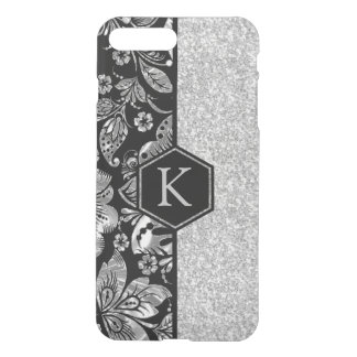 Silver Glitter & Damasks Monogram GR2 iPhone 8 Plus/7 Plus Case