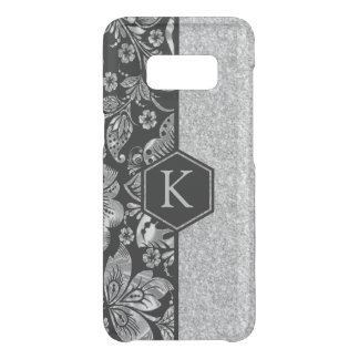 Silver Glitter & Damasks Monogram Uncommon Samsung Galaxy S8 Case
