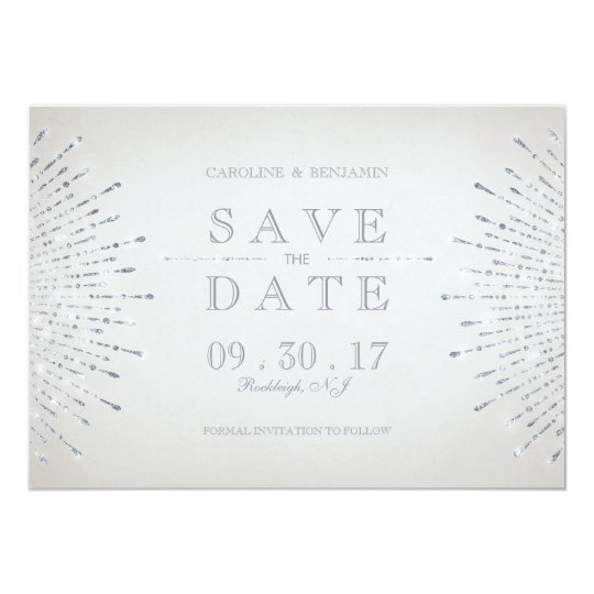 Silver glitter deco vintage wedding save the date