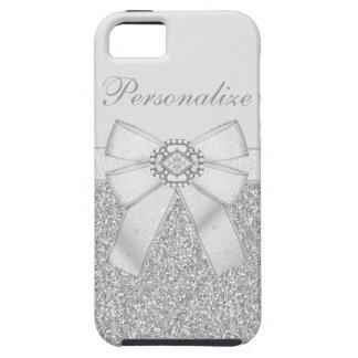 Silver Glitter & Diamond Bling iPhone 5 Case