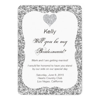 Silver Glitter Diamond Heart Bridesmaid Card 13 Cm X 18 Cm Invitation Card