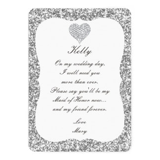 Silver Glitter Diamond Heart Maid Of Honor Card 13 Cm X 18 Cm Invitation Card