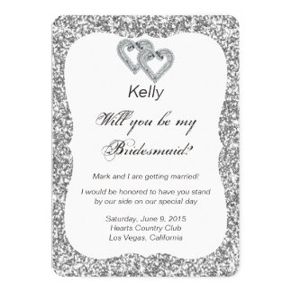 Silver Glitter Diamond Hearts Bridesmaid Card