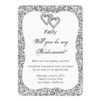 Silver Glitter Diamond Hearts Bridesmaid Card 13 Cm X 18 Cm Invitation Card