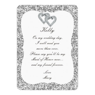 Silver Glitter Diamond Hearts Maid Of Honor Card 13 Cm X 18 Cm Invitation Card