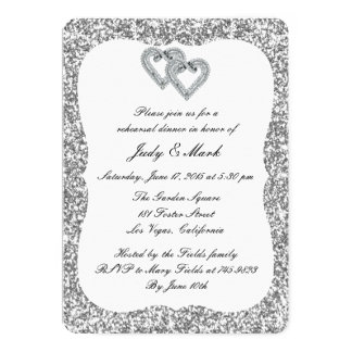 Silver Glitter Diamond Hearts Rehearsal Dinner Card
