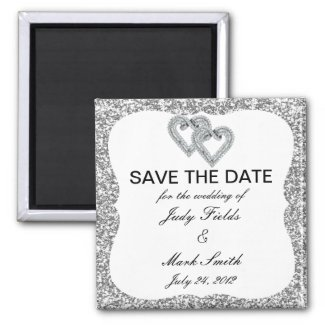Silver Glitter Diamond Hearts Save The Date Magnet