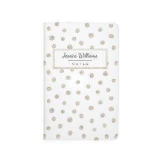 Silver glitter dots journal