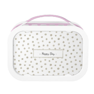 Silver glitter dots lunch box