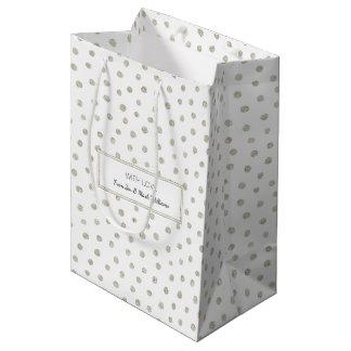 Silver glitter dots medium gift bag