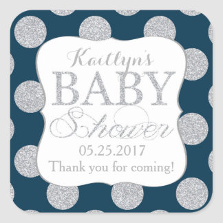 Silver Glitter Dots Navy Blue Baby Shower Label Square Sticker