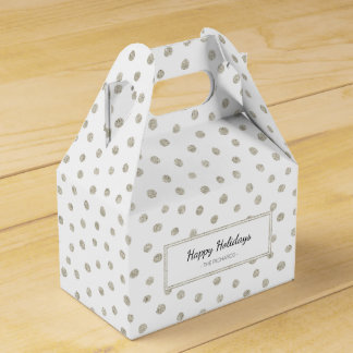 Silver glitter dots party favour boxes