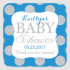 Silver Glitter Dots Royal Blue Baby Shower Label