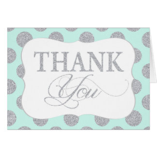 Silver Glitter Dots Seafoam Modern Thank You Card