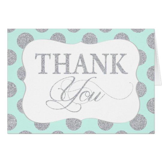 Silver Glitter Dots Seafoam Modern Thank You Card