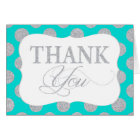 Silver Glitter Dots Turquoise Modern Thank You Card