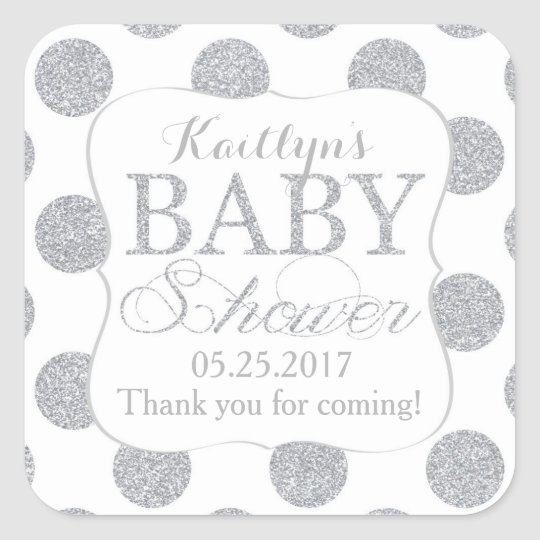 Silver Glitter Dots White Baby Shower Label