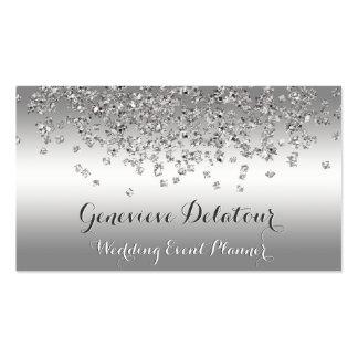 Silver Glitter Elegant Platinum  Event Planner Pack Of Standard Business Cards