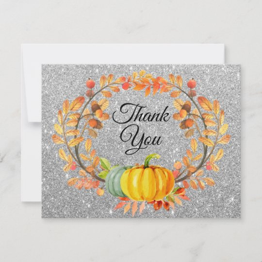 Silver Glitter Fall Pumpkin Thank You Card Zazzle Co Uk
