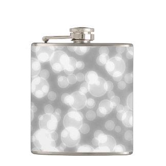 Silver Glitter Faux foil confetti Hip Flask