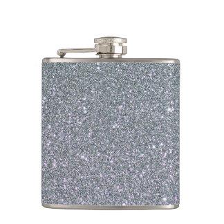 Silver Glitter Faux foil Hip Flask