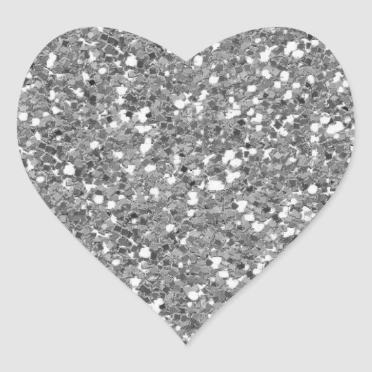 Silver Glitter (Faux) Heart Sticker