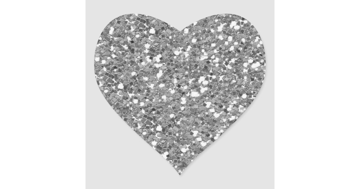 Silver Glitter (Faux) Heart Sticker | Zazzle.co.uk