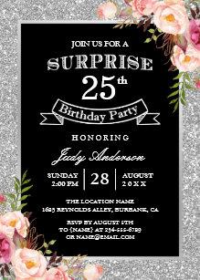 Silver Glitter Floral 25th Surprise Birthday Party Invitation