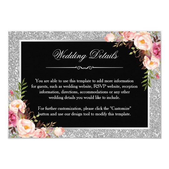 Silver Glitter Floral Wedding Details Reception Card