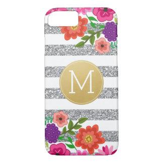 Silver Glitter, Flowers, Stripes, Gold Monogram iPhone 8/7 Case