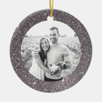 Silver Glitter Frame Holiday Christmas Ornament
