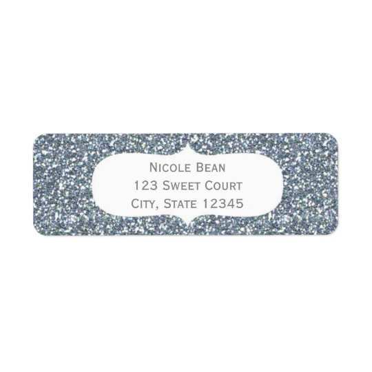 Silver Glitter Glamour Birthday Address Labels