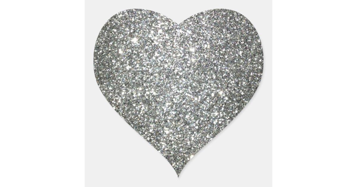 Silver Glitter Glamour Heart Sticker | Zazzle