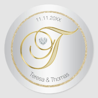 Silver Glitter Gold Monogram Wedding Envelope Seal Round Sticker