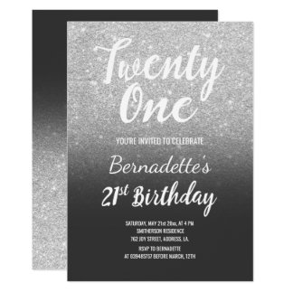 Silver glitter grey ombre 21st Birthday Card