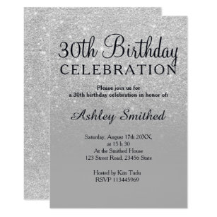 30th Birthday Invitations Zazzle Uk Black And White