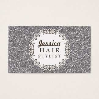 Silver Glitter Hair Stylist Appointment Cards